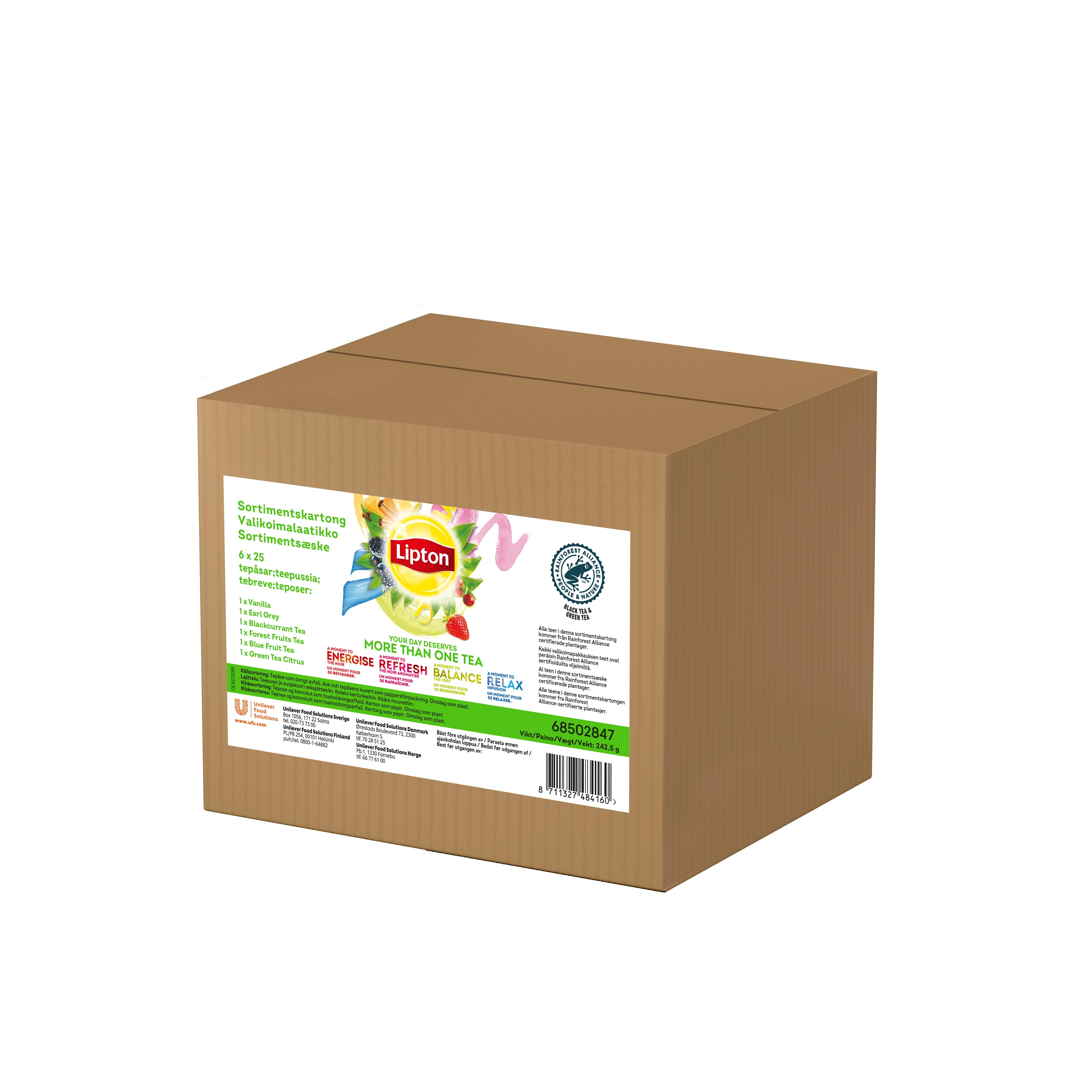 Lipton Classic Te Rainforest Alliance Certifierad Sortimentskartong 6 x 25 påsar -