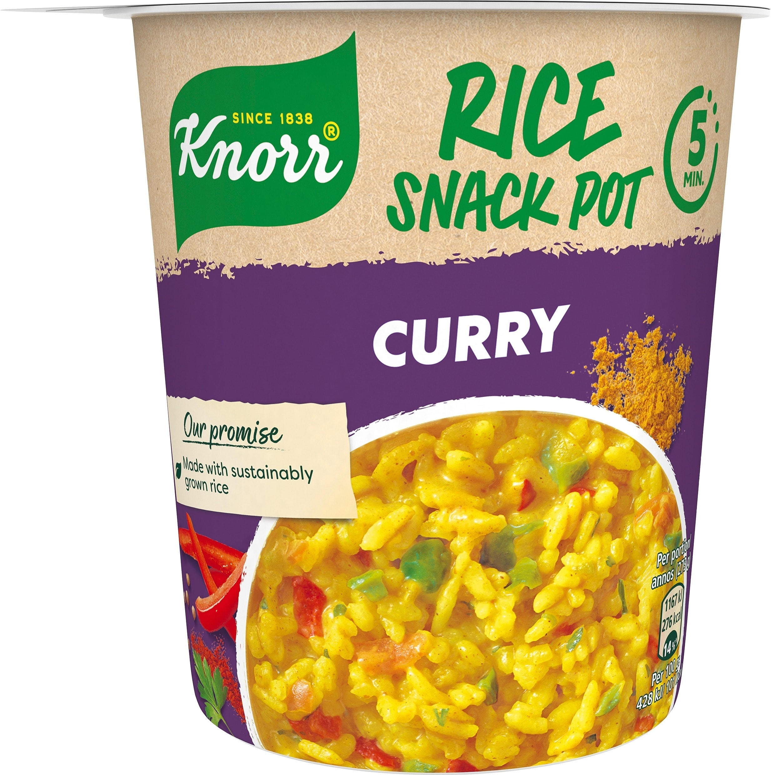 Snack Pot Rice Curry, 8 x 73 g -
