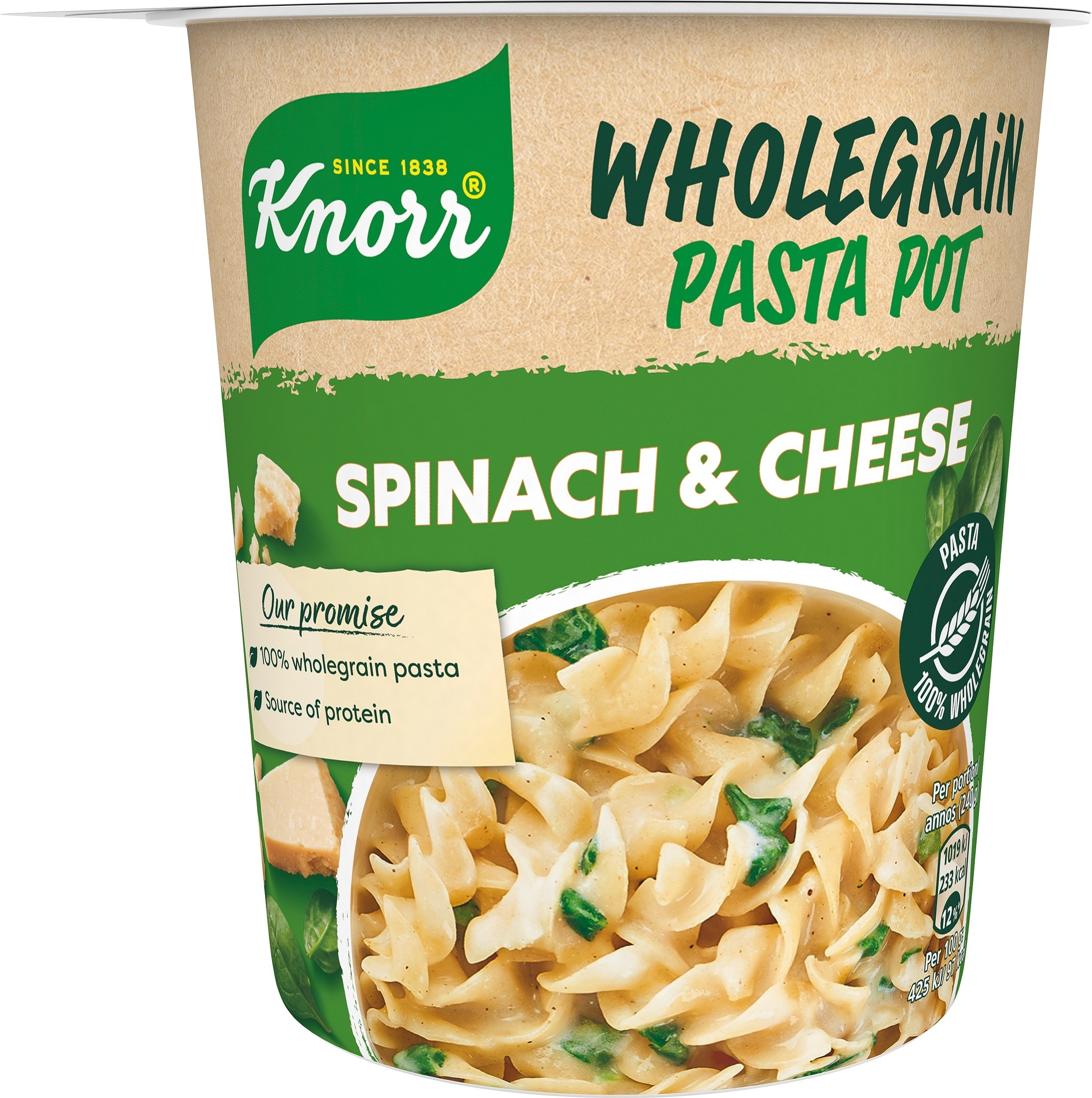 Snack Pot Fullkorn, Spinach & Cheese, 8 x 60 g -
