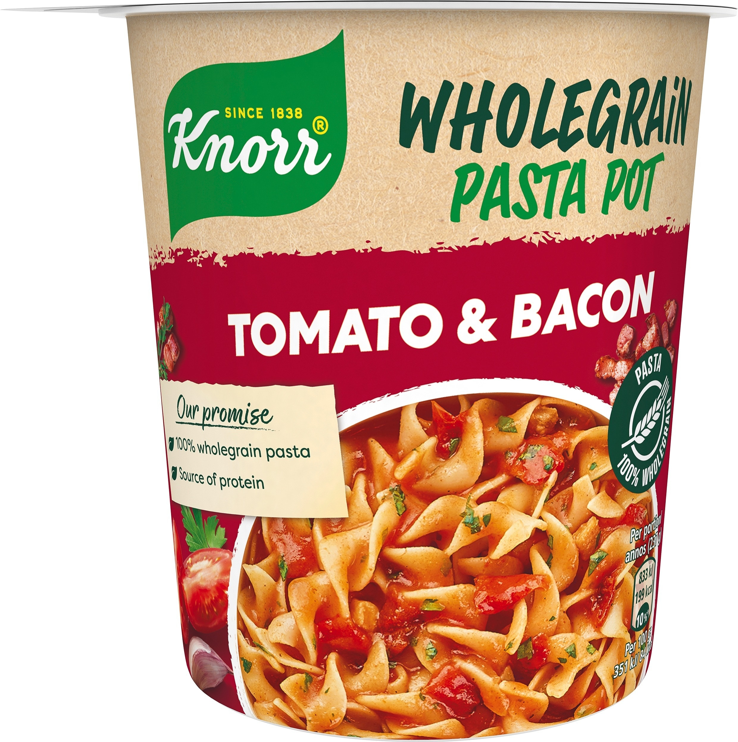 Snack Pot Fullkorn, Tomato & Bacon, 8 x 57 g -