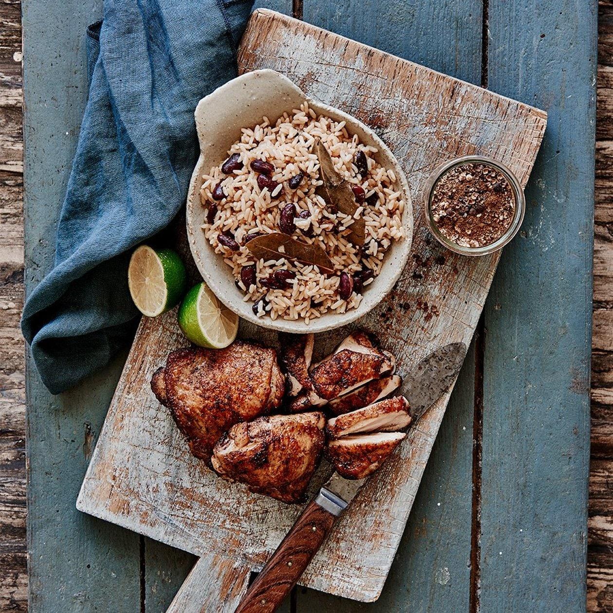 Jerk kyckling med ris och bönor