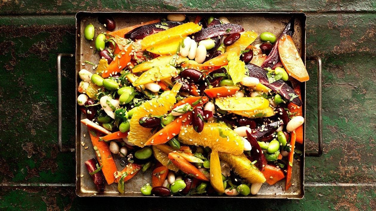 Bönsallad med morötter och Koriander