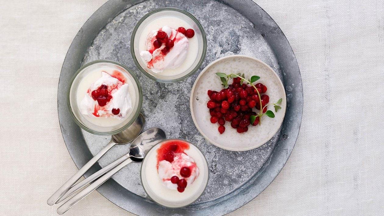 Vaniljpudding med hallon och lingonmousse, Nordisk mat