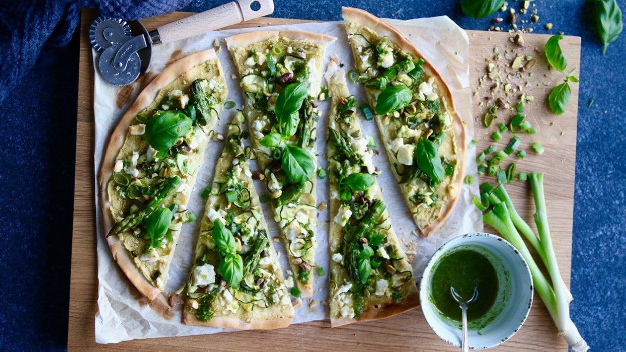 Grön pizza med Hummus Grön Ärta